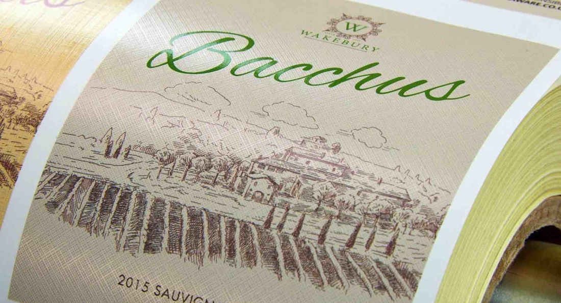 A 'premium' feel can be created on a wine bottle using digital textured effects across the label simulating conventional textured papers.