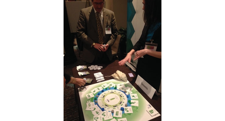 "Tabletop exhibits were also part of this two-day summit. Quantis offered attendees a chance to see its ""Life Cycle Perspective"" business game designed to analyze what people understand about LCA."
