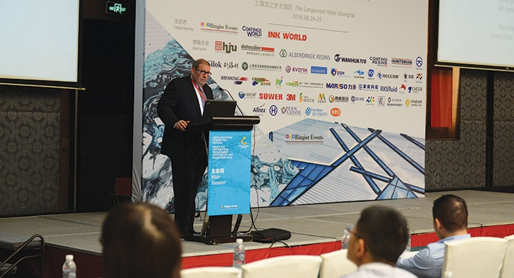 "Dale Pritchett, publisher of Coatings World, presented ""New Technologies and Trends in the Global Markets of Coatings and Inks."""