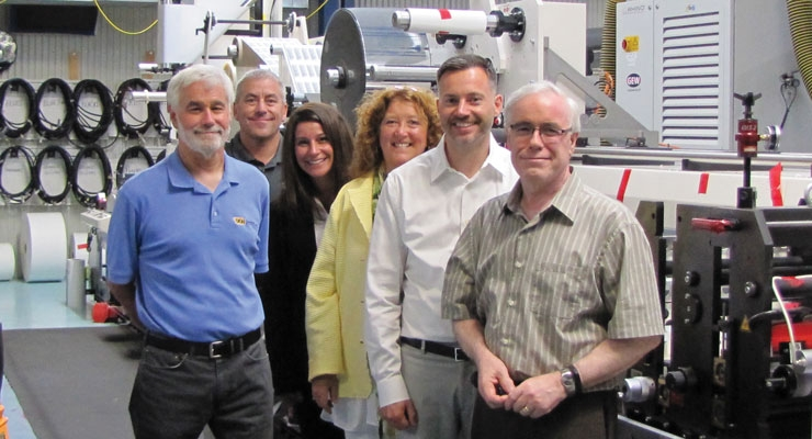 Dion's Leadership Team: From left, David Dion, Co-President; Randy Duhaime, General Manager; Stacy Falconer, Business Development Director; Sue Hebert, Prepress Director; Marshal Walden, Operations Manager; and John Dion Jr., Co-President
