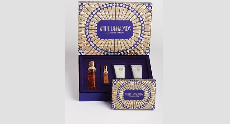 The award-winning box by Color Optics  for White Diamonds' gift set.