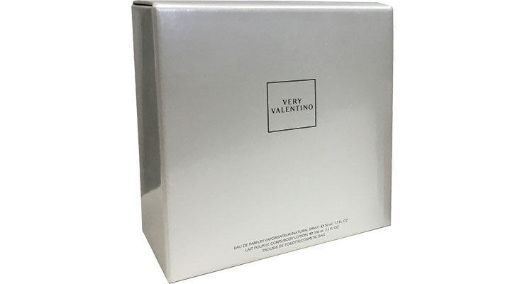 Very Valentino fragrance is set in a fluted box by Atlantic Packaging.