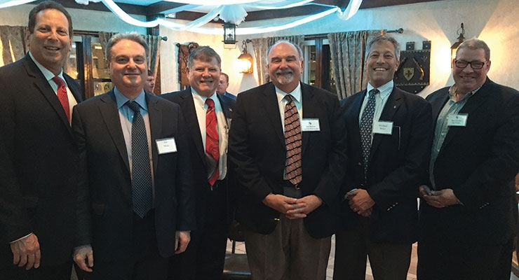 On hand for the MNYPIA Anthony Mauriello Man of the Year Award dinner are, from left, MNYPIA's Bruce Schimmel of Superior Materials, Joe Mele of Polimeros Sinteticos, MNYPIA president John Rutledge of United Mineral and Chemical, Dan Shevkun of Superior Printing Ink, Michael Brice of INX International Ink and Dale Pritchett of Ink World.