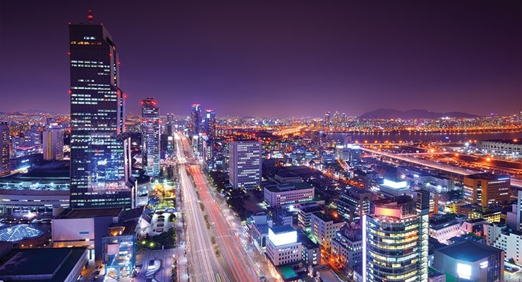 Gangnam District, Seoul, South Korea at night.