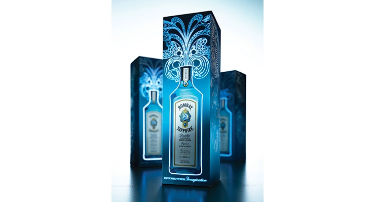 A Bombay Sapphire label lights up with printed electronics integration.