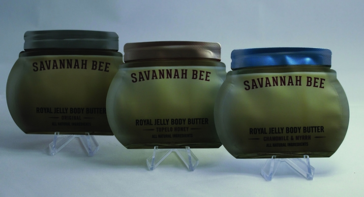Savannah Bee's Royal Jelly Body Butter products are packaged in diecut packettes that echo the brand's full-sized packaging.