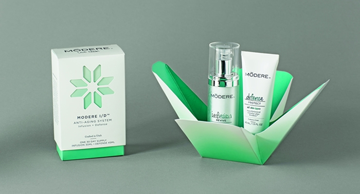 Nosco designed and printed this luxury package for skin care brand Modere I/D.