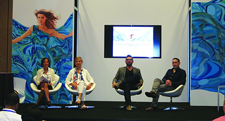 Beauty Packaging's panel—The Beauty of Sustainability: More Than Green Packaging—featured (L-R) Jamie Matusow, moderator; Dominique Assenat, PeclersParis; Joshua Onysko, Pangea Or-ganics; and Rudi Becker, Method. (See more on this inspiring and informative discussion in an Online Exclusive at BeautyPackaging.com)
