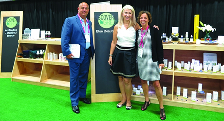 Beauty Packaging's Jay Gorga and Jamie Matusow with  Daniela Ciocan (center), marketing direc-tor of CPNA