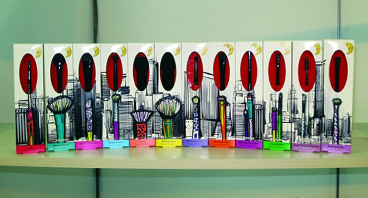 "Mid-York Press Inc. used 'plateless' digital packaging"" for the eye-catching brush box design of the New York skyline."