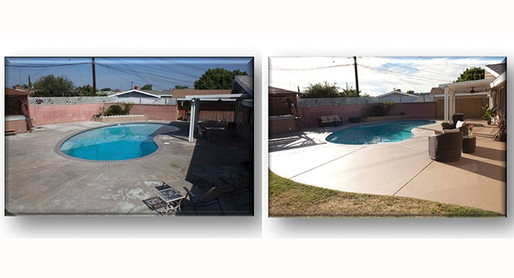 In Figure 9, one can observe the appearance improvement resulting from the application of this type of coating to the aged concrete on a pool deck.