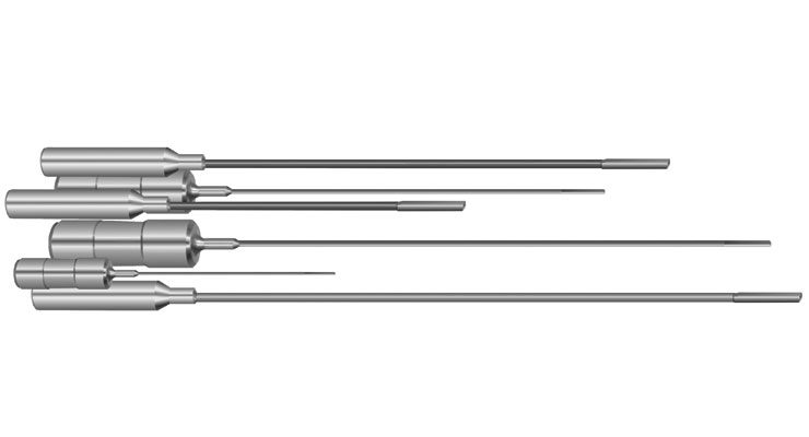 """Stock standard solid carbide gundrills for medical component manufacturing are available from .03937"""" (1mm) to .3125"""" (7.9375mm) in lengths 5"""" (127mm) to 12"""" (304.8mm). Specials can be manufactured with coatings, cutting, and non-cutting pilots in various diameters, lengths, and drivers to suit any application. Image courtesy of Drill Masters-Eldorado Tool."""