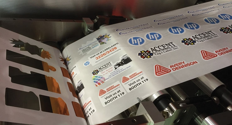 Avery Dennison substrates laser-finished by a Delta ModTech Spectrum, demonstrated at the recent Labelexpo Digital Finishing Experience area.