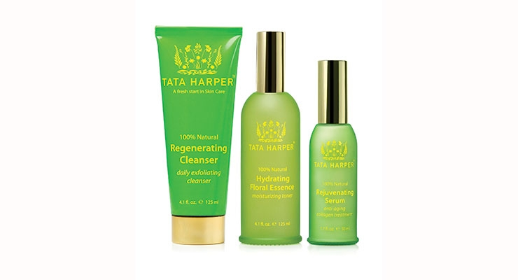 Packaging is a focus for skin care guru, Tata Harper, who features  fresh formulas housed in elegant green glass flacons.