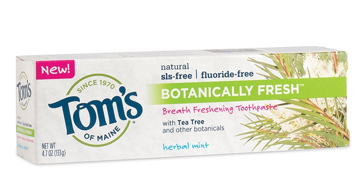 New developments at Tom's of Maine include a kid's-size toothbrush and Botancially Fresh tea tree toothpaste.