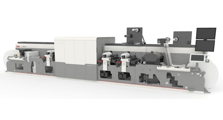 The MPS EF Symjet hybrid press is highlighted by an integration with Domino's N610i inkjet engine, and combines flexo and digital in one pass.