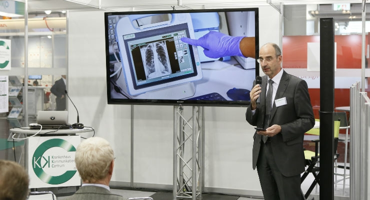 So much information to absorb at Medica. You can stop by a booth giving a live demonstration or hear from a company representative about their latest innovation.