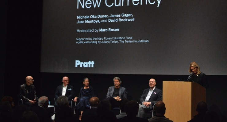 James Gager (far left) spoke about the 'new language of design' with (L-R) Juan Montoya, Michele Oka Doner, David Rockwell, Marc Rosen, and Juliana Terian.