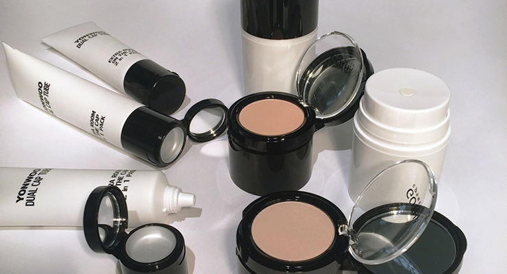 "Yonwoo/PKG ""continues to innovate and promote dual-use products in the color category."" One example is an airless package or airless pump tube for thick viscosity emulsions like foundation, combined with pressed or hot pour products for concealing and correction, all in one convenient ""pursable"" package."