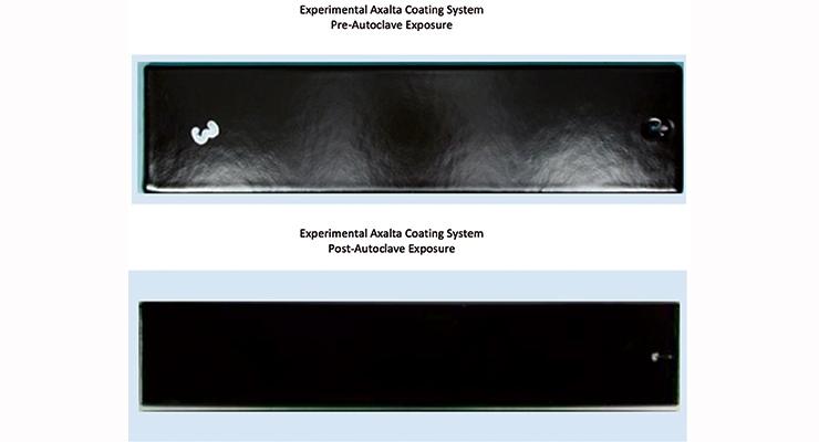 Figure 2.  Pre- and post-autoclave exposures for the experimental Axalta coating system.