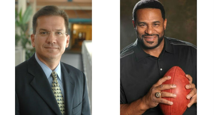 Stryker's Bill Huffnagle (left) and Jerome Bettis (right)