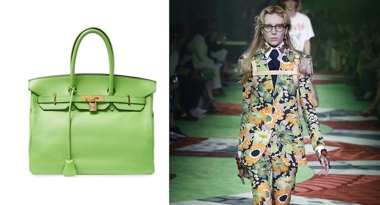 4. Greenery Fashion: Clemence Birken Bag by Hermes; Gucci's SS 2017 Runway