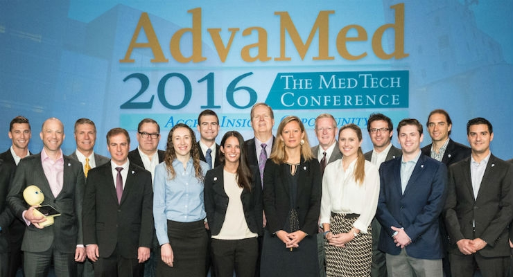 The 2016 finalists on stage at AdvaMed 2016, where the winners were announced.
