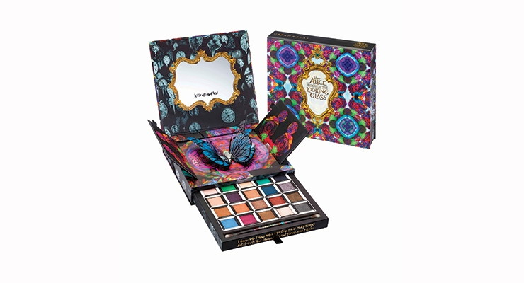 Hits of embossing and gloss give Urban Decay's 'Alice Through the Looking Glass' palette a luxe, dimensional feel. When the lid is lifted and the doors inside are opened, a 3D butterfly springs up. Pulling open the palette's drawer reveals the shadows. This limited edition pop-up palette was produced by HCT Group.