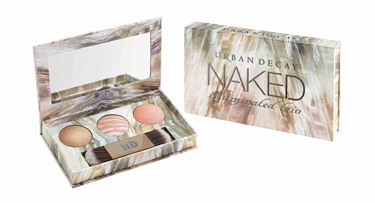 Urban Decay's 2016-2017 Launches To-Date: Packaging for the Naked Illuminated Trio synched with shimmering powder for face and body.