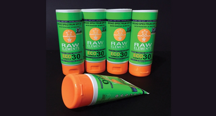Raw Elements' Eco Formula 30+ Lotion is packaged in colorful  3-oz. tubes supplied by Pack-Tubes.