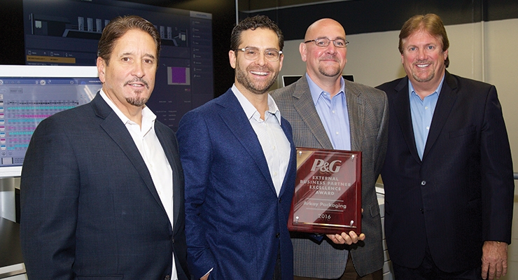 "(L-R): Walter Shiels, Arkay COO; Mitchell Kaneff, Arkay CEO, Randall ""Randy"" Robbins, P&G senior purchasing manager, Brian Hopkins, Arkay corporate VP of operations"