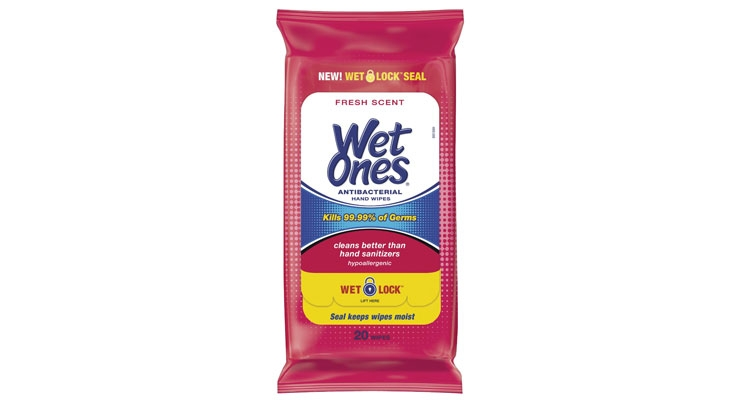 Wet Ones' new Wet Lock seal on its travel  packs help wipes retain moisture for longer.