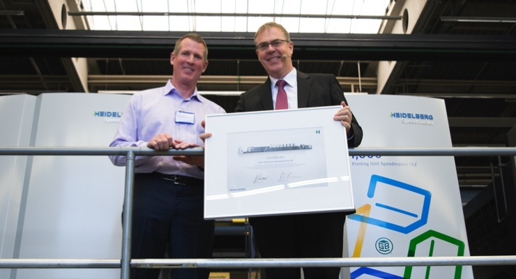 Heidelberg celebrates 1000th VLF printing unit at Green Bay Packaging