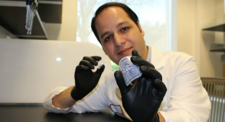 "Rahim Esfandyarpour helped to develop a way to create a diagnostic ""lab on a chip"" for just a penny. (Credit: Zahra Koochak)"