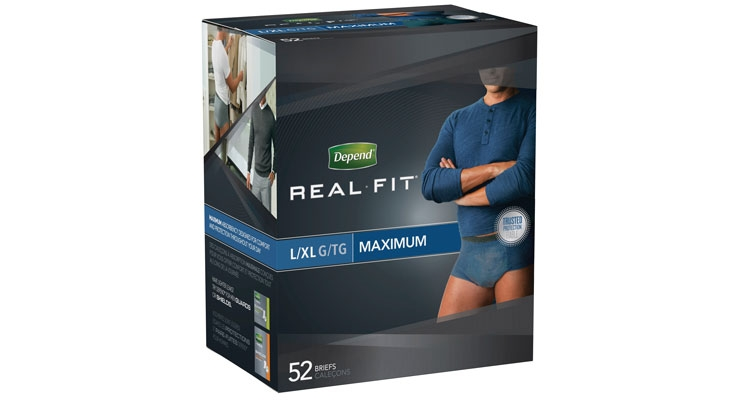Kimberly-Clark redesigned Depend Real Fit briefs for men. The new design features a more breathable fabric in a new masculine design.