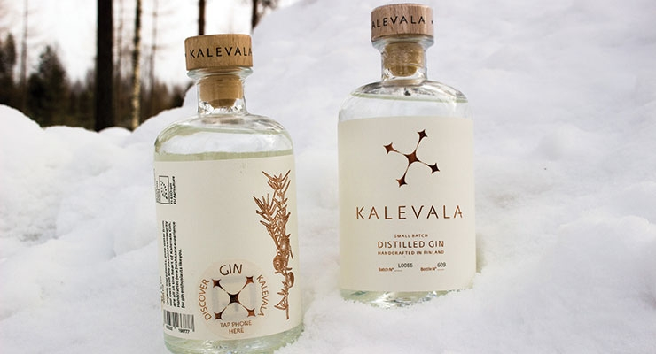 Kalevala Gin uses an NFC-enabled tag. (Photo courtesy of Northern Lights Spirits Ltd.)
