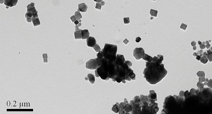 Figures 1-2. Transmission electron microscope images of iron oxide pigments.