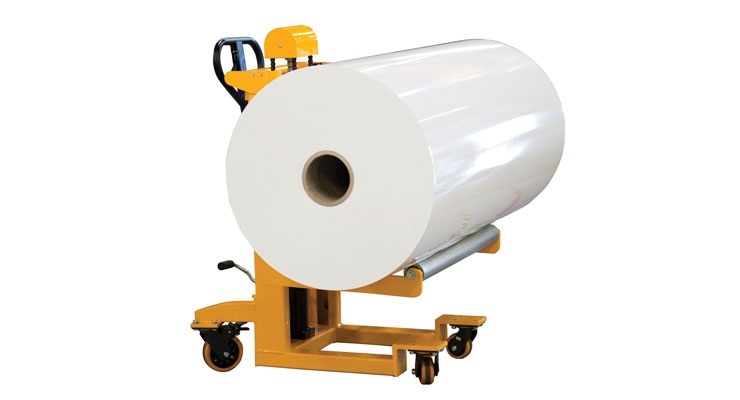 Foster's Spinner lifter enables a single operator to easily load rolls.