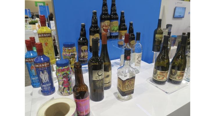 On display: wine, beer and spirits labels printed with an HP Indigo digital label press.