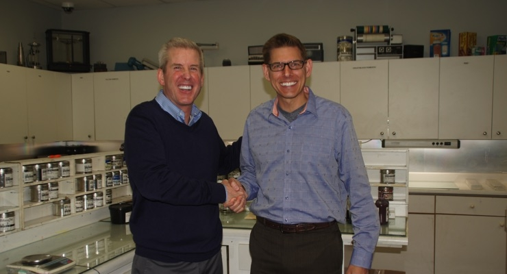 Tom Alden, left, president of Alden & Ott and Derek McFarland, right, president - Americas, hubergroup USA.