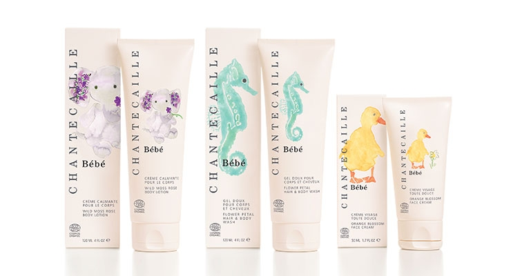Chantecaille Bébé: Organic skin care in 100% recyclable, airless tubes. Eco info is displayed on-pack.