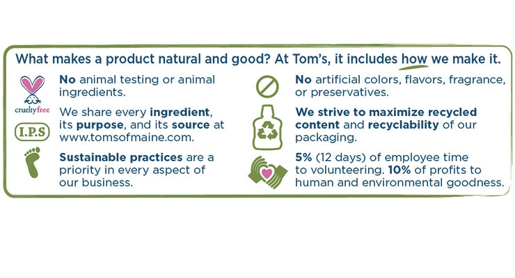 A new cleansing line of body washes and bar soaps from Tom's of Maine includes labels that list all of the brand benefits.