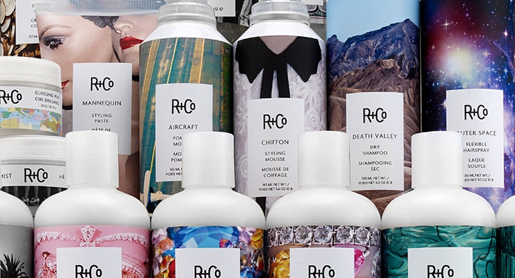 R+Co's cool, colorful labels cleverly wink at the type  of product contained within the package.