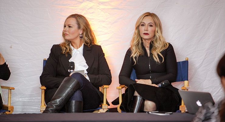 Anastasia Soare (R), founder of Anastasia Beverly Hills, was one of  many presenters in the show's sessions tent.