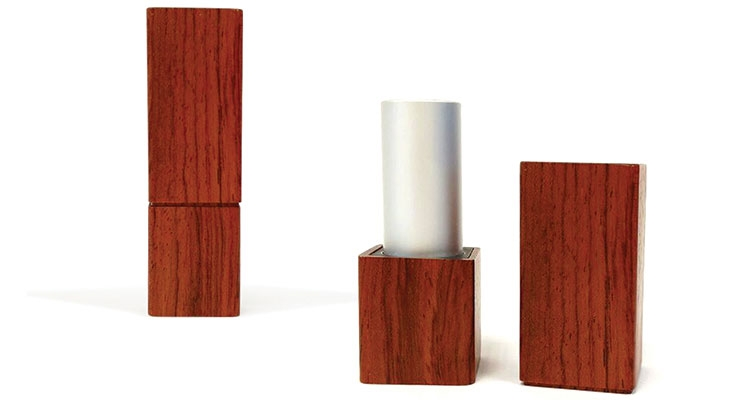 Quadpack previewed a wooden lipstick case that's not yet commercially available.