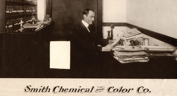 Casper Smith, founder of Smith Chemical and Color Co., at his desk.