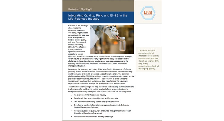 Integrating Quality, Risk, and EH&S in the Life Sciences Industry