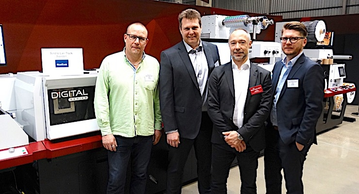 Bjorn Claren (L) and Johan Ripa of LariTryck with Joakim Marcusson of Convertec and Timo Donati of Mark Andy with the Digital Series press.