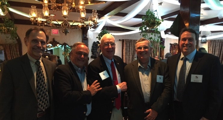 2017 MNYPIA Man of the Year award recipient Myron Petruch, right, is congratulated by past honorees, from left, George Fuchs, John Jilek Sr., Cal Sutphin and Larry Lepore.