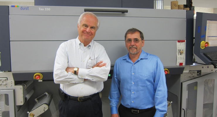 Ron Nagy (L) and Randy Kocher with MPI's Durst Tau 330 digital UV inkjet  press